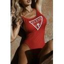 Letter GUESS Graphic Printed Scoop Neck Sleeveless Slim One-Piece Swimwear for Women