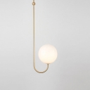 Globe Hanging Light Modern Fashion Milky Glass Single Head Pendant Light in Brass