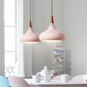 Macaron Simple Spinning Suspended Lamp Wood 1 Head Drop Ceiling Lighting in Green/Pink