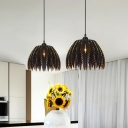 Leaf Style Suspended Light Modernism Metal Single Light Pendant Light in Black for Foyer