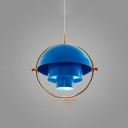 Dome Hanging Lamp Modern Design Steel 1 Head Drop Light in Blue with Rotatable Shade