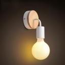 Single Head Armed Sconce Light Contemporary Wooden LED Wall Mount Light in White