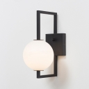 Sphere Wall Light Fixture Modernism Milky Glass 1 Light Sconce Light in Black for Staircase
