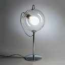 Modern Fashion Orb Desk Light Clear Glass Single Light Table Light in Chrome for Study Room