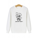 Men's Cute Cartoon Loki Letter JOIN MY ARMY Printed Long Sleeve Fitted Cotton Graphic Sweatshirt