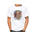 Popular Figure American Comic Book Writer Colorful Painting Basic White Short Sleeve T-Shirt for Men