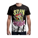 Funny 3D Letter STAY WEIRD Tongue Print Short Sleeve Black Graphic T-Shirt for Men