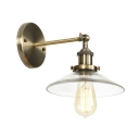 1 Head Armed Sconce Light with Glass Shade Retro Style Wall Mount Light in Bronze Finish for Staircase