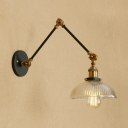 Dome Wall Sconce with Swing Arm Industrial Ribbed Glass 1 Light Wall Lighting with Black Metal Base