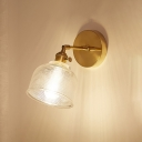 Prismatic Glass Dome Wall Light Industrial 1 Light Wall Mount Fixture in Brass for Porch Hallway