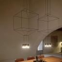 Multi Light Geometric Hanging Light Modern Design Iron Drop Ceiling Lighting in Black