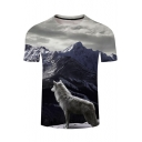 New Trendy 3D Wolf Printed Grey Short Sleeve Crewneck Fitted T-Shirt