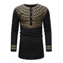 Men's Trendy Logo Printed Round Neck Long Sleeve Button Front Fitted Long T-Shirt