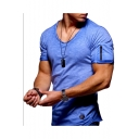 Chic Zip-Embellished Short Sleeve V-Neck Sport Cotton T-Shirt for Men