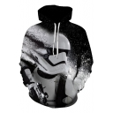 New Trendy 3D Star Wars Figure Print Long Sleeve Black Box Loose Hoodie