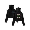 Popular Letter SOUTH SIDE Snake Logo Print Long Sleeve Cropped Ear Hoodie