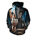 Cool 3D Poker Skull Man Print Loose Fit Pullover Blue Drawstring Hoodie