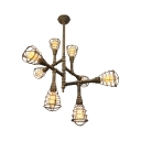 Antique Bronze 28'' Wide 8 Light Pipe Sputnik LED Chandelier with Metal Cage