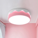 Macaron Metal Shade Flush Light with Cake Shape Pink LED Flush Ceiling Light for Girls Bedroom