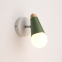 Open Bulb 1 Light Sconce Light Macaron Blue/Green Metal Mini Wall Mount Light for Children Room