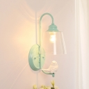 Clear Glass Cone Sconce Light with Bird American Retro Single Head Lighting Fixture in Green