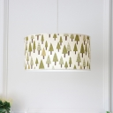 Fabric Drum Shade Suspension Light Rustic Style 3 Lights Chandelier Light in White Finish