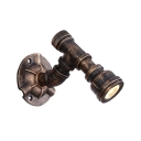 Water Pipe Wall Mount Fixture Industrial Metal Single Light Sconce Light in Aged Bronze