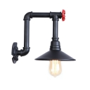 Retro Style Water Pipe Lighting Fixture with Flared Shade Iron 1 Light Wall Lamp in Black