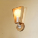 1 Light Bare Bulb Wall Lamp Minimalist Wall Light Fixture with Trapezoid Wooden Frame in White