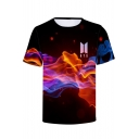 Men's Cool Boy Band 3D Fire Galaxy Logo Print Short Sleeve Casual T-Shirt