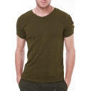 Men's Cool Military Eagle Embroidered Badge Sleeve V-Neck Fitted T-Shirt