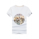 Stylish Circle Letter NEW YORK Pattern Short Sleeve Loose Fitted T-Shirt