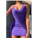 Women's Sexy Silk Halter Neck Ruched Detail Open Back Plain Mini Bodycon Slip Dress