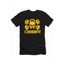 Fashion Letter CROSSFIT Skull Graphic Printed Short Sleeve Casual Athletic T-Shirt