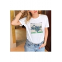 New Popular Van Gogh Floral Printed Short Sleeve Loose Fit White T-Shirt