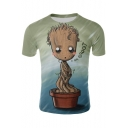 Basic Short Sleeve Funny 3D Cartoon Pot Plant Print Green T-Shirt