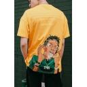 Teen Hip Hop Street Letter UNUSUAL ORIGINAL Figure Print Loose Cotton T-Shirt