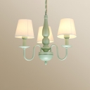 Vintage Tapered Hanging Ceiling Lamp with Fabric Shade 3/5 Lights Chandelier in Green Finish