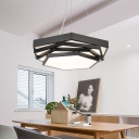 Metal Hex LED Pendant Lighting Contemporary Black Finish 20