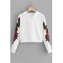 Hot Sale Long Sleeve Rose Floral Printed Casual Hoodie