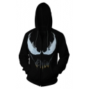 Zip Front Printed Long Sleeve Leisure Black Hoodie