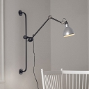 Adjustable Dome Shade Wall Lamp Simplicity Industrial Steel Wall Light for Bedside