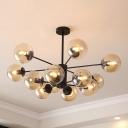 Glass Sphere Chandelier Light Contemporary Multi Light Ceiling Light in Cognac for Living Room