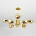 Ball Shade Hanging Light Contemporary Brown Glass 8 Light Chandelier Light in Gold
