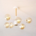 Sphere Shade Ceiling Light Simplicity Wood 6 Light Decorative Chandelier Lamp for Bedroom