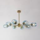 8 Light Branch Hanging Light Modernism Metal LED Chandelier Lamp in Gold for Bedroom