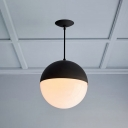 Modern Designers Style Globe Pendant Light White Glass LED Lighting Fixture in Matte Black