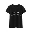 Funny Cat Pattern Round Neck Short Sleeve Black Leisure Tee