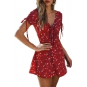 Burgundy Short Sleeve V Neck Drawstring Front Floral Printed Mini A-Line Dress