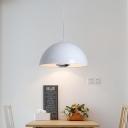 Dome LED Pendant Lights Modern Style Metal 1 Light Hanging Ceiling Lamp in Black/White